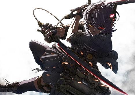 Обои Tenryuu Light Cruiser сражается двумя мечами из игры Kantai Collection / Флотская Коллекция, art by Imizu