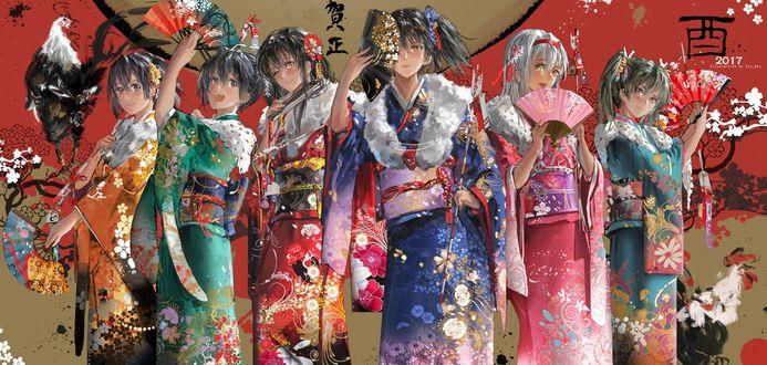 Обои Персонажи из игры Kantai Collection / Флотская Коллекция в кимоно с веерами и пеухами