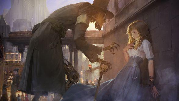 Обои Робот-киборг пугает девочку в безлюдном переулке, рисунок в стиле steampunk future