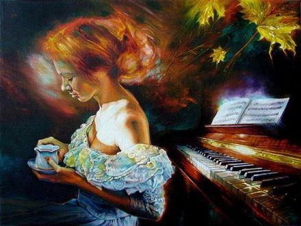 Обои Девушка с чашкой сидит у рояля, художник Влодзимеж Куклински