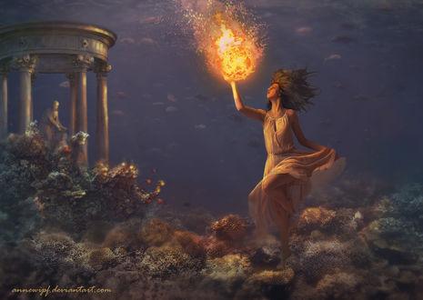 Обои Девушка с огнем в руке в подводном царстве, by annewipf