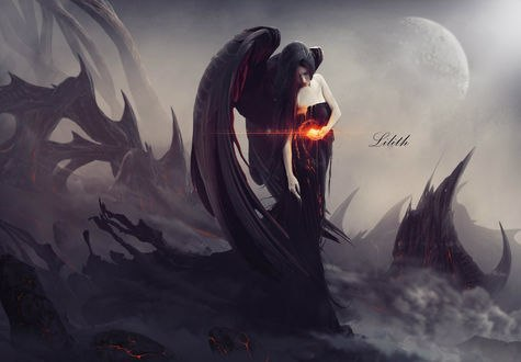 Обои Девушка - темный ангел тает, держа огонь в руке (Lilith / Лилит), by zacky7avenged