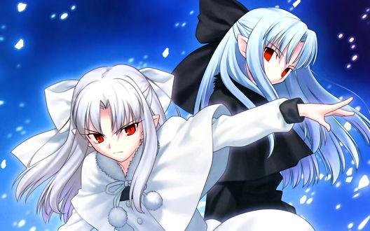 Обои Лен / Рен / Ren и Белая Лен / White Len / Shiro Ren, персонажи игры Талая Кровь / Melty Blood, колдуют стужу