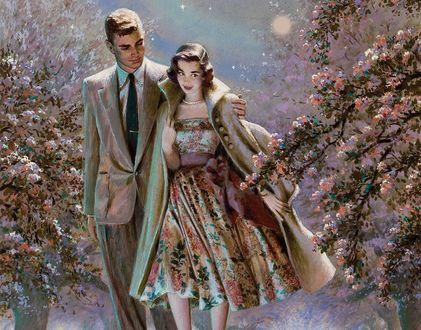 Обои Девушка с парнем идут, обнявшись, по ночному цветущему саду