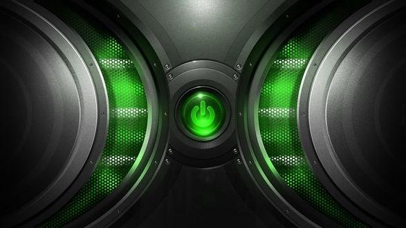Обои Зеленая кнопка питания