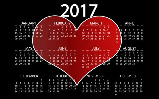 Обои Календарь на 2017 год с сердечком