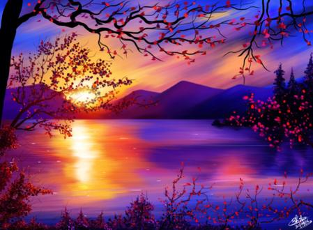 Обои Закат солнца на фоне природы, by Khushiart
