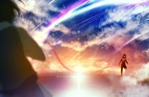 Обои Мицуха Миямизу / Mitsuha Miyamizu и Таки Тачибана / Taki Tachibana из аниме Твое имя / Kimi no Na wa