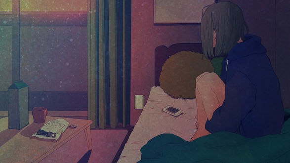 Обои Девушка сидит на кровати, согнув колени, автор Asakurazeze
