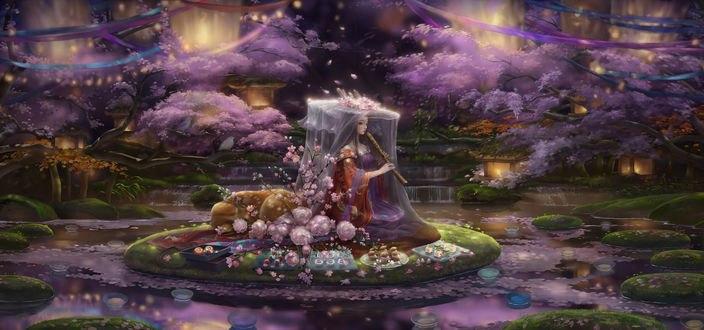 Обои Девушка в красивой одежде играет на флейте сидя на островке окруженном со всех сторон водой, art by litingting915