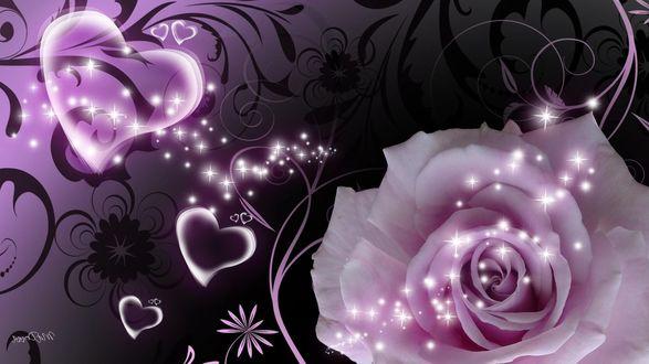Обои Роза на фоне узора и летающих сердечек