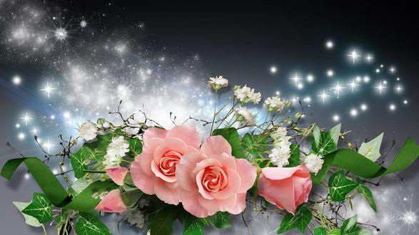 Обои для рабочего стола Композиция из роз, белых цветов, зеленой ленточки на фоне с блестками (© Ирис-S),Добавлено: 09.02.2017 01:04:02