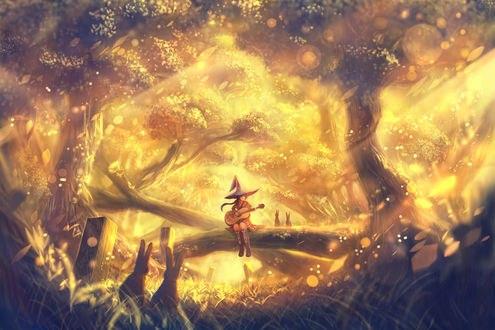 Обои Ведьмочка играет на гитаре, сидя на стволе дерева, ее слушают кролики, by bounin