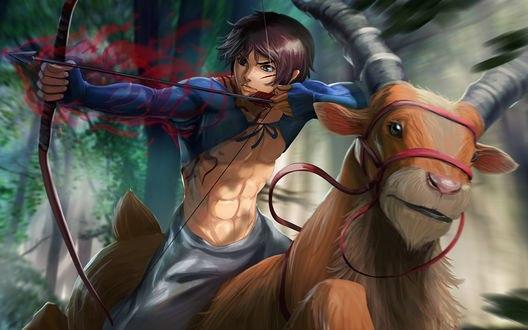 Обои Аситака / Ashitaka и Якул / Yakul из аниме Принцесса Мононокэ / Mononoke Hime, by Rubendevela