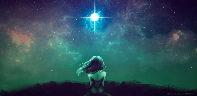 Обои для рабочего стола Девушка сидит на траве и смотрит на звездное небо, by At-luna (© Arinka jini),Добавлено: 10.02.2017 02:04:38