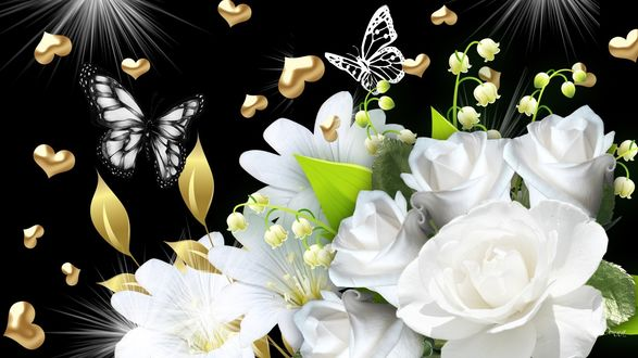 Обои Букет белых роз, с лилиями, ландышами, над которым летают бабочки, сердечки