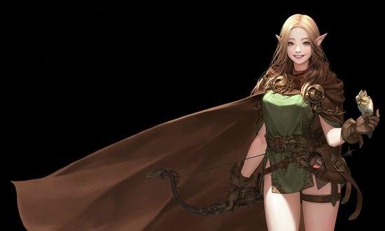 Обои Эльфийская лучница с бурундуком на руке, автор Daeho Cha