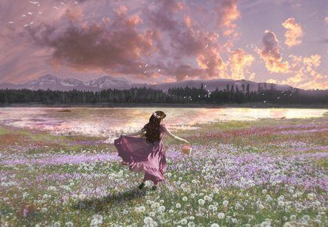 Обои Девочка идет по полю с цветами, by Aichan3