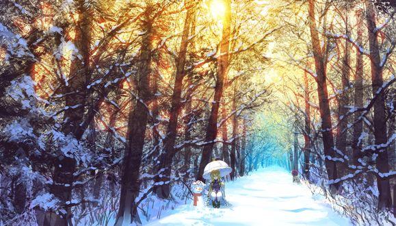 Обои Девушка сидит рядом со снеговиком на заснеженной дороге