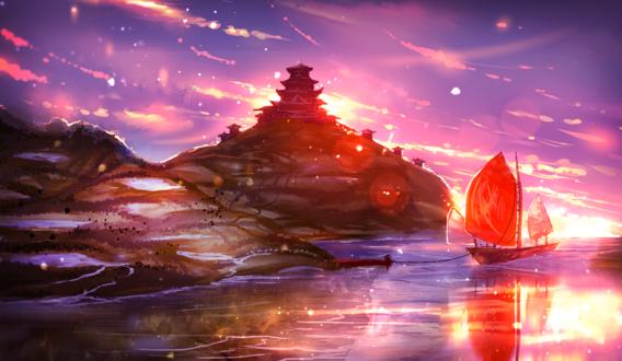 Обои Корабль в лучах закатного солнца стоит у острова, by ryky