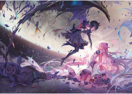 Обои Юри Цукикагэ / Yuri Tsukikage и Темная ПриКюа / Dark Pretty Cure из аниме Хорошенькое лекарство! / Heartcatch Precure, автор Alphonse