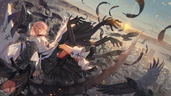 Обои Девушка в церковном одеянии падает вниз, автор Alphonse