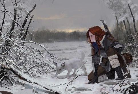 Обои Рыжая девушка и белый пес идут по следам, автор Park Pyeongjun