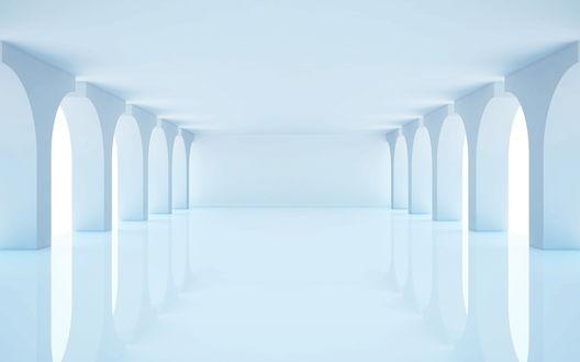 Обои Большой белый зал с колоннами и зеркальными поверхностями