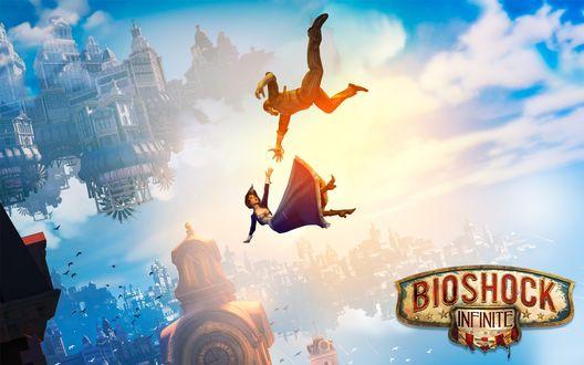 Обои Девушка и парень, арт к игре Bioshock infinite