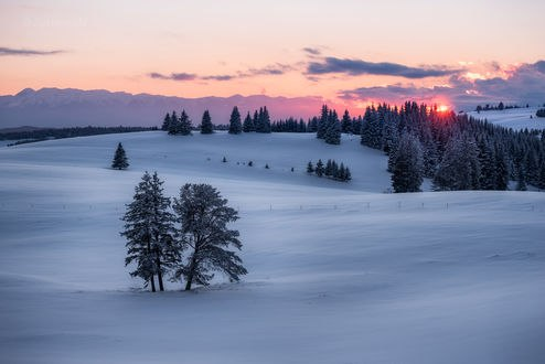 Обои Зимний закат над природой, фотограф Емил Рашковски