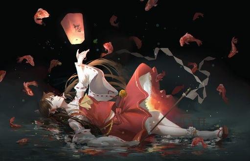 Обои Рэйму Хакурэй / Reimu Hakurei из аниме и игры Touhou Project / Проект Восток, автор luomo-八雲正月