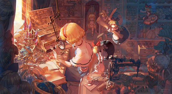 Обои Алиса Маргатройд / Alice Margatroid из аниме и игры Touhou Project / Проект Восток, автор oODahuangOo