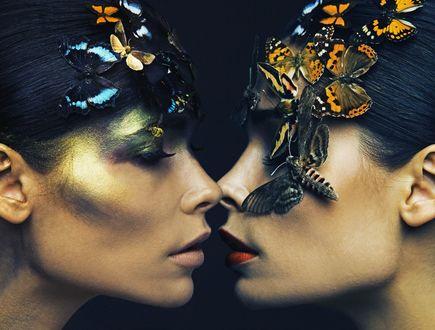 Обои Портрет модели Полины Аскери с бабочками и мотыльками, фотограф Сережа Щелухин