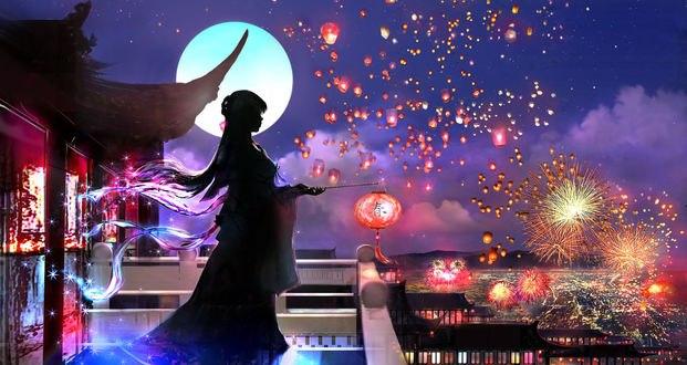 Обои Силуэт девушки с фонариком в руках, стоящей на балконе и смотрящей на фейерверки, by 00