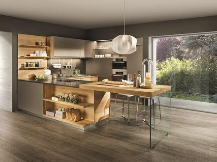 Обои Дизайн кухни с окнами в пол для загородного дома
