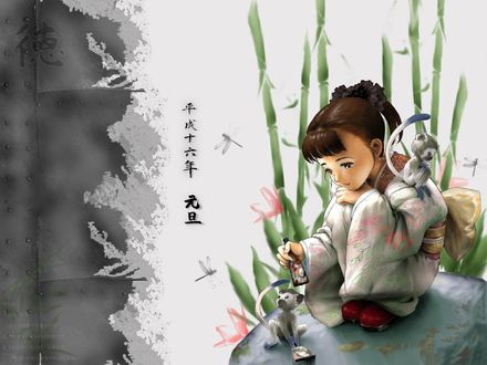 Обои Маленькая японка в кимоно играет с двумя обезьянками, сидя на камне, среди бамбука и стрекоз