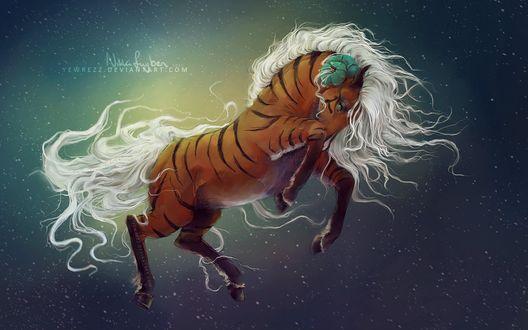 Обои Белогривая лошадь лошадь с необычным окрасом, by Yewrezz