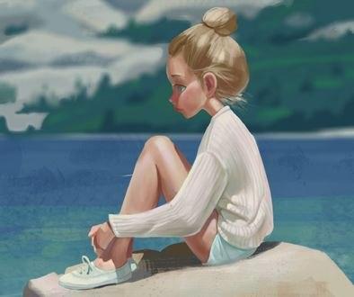 Обои Девочка сидит на камне на фоне природы, by veck lan