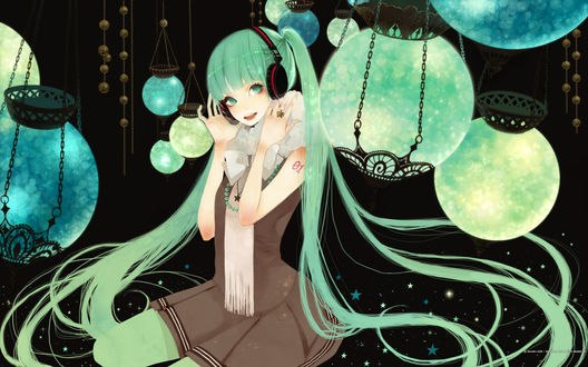 Обои Вокалоид Хацунэ Мику / Vocaloid Hatsune Miku, art by Mokaffe