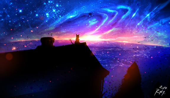 Обои Кошка сидит на крыше дома, by ryky