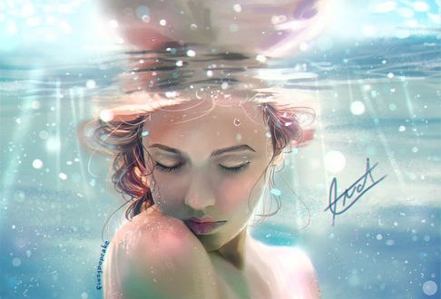 Обои Девушка под водой, by fizzypopcake