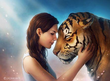 Обои Девушка с тигром, by JoJoesArt