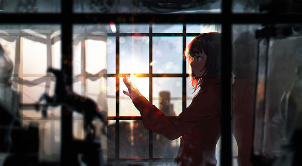Обои Девушка в красном пальто, стоя у окна, задумчиво смотрит на свою руку в лучах солнца / Engagement ring of the setting sun by sumiobunnya