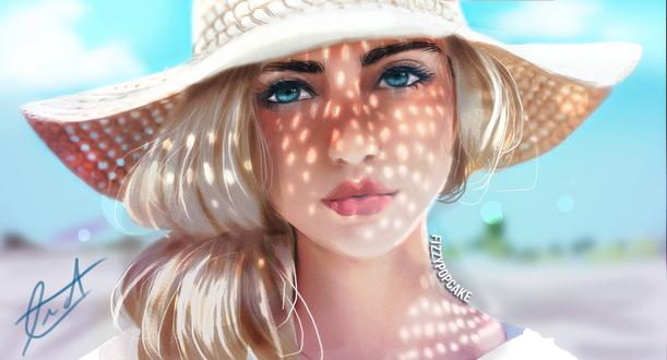 Обои Красивая девушка в шляпе, by fizzypopcake