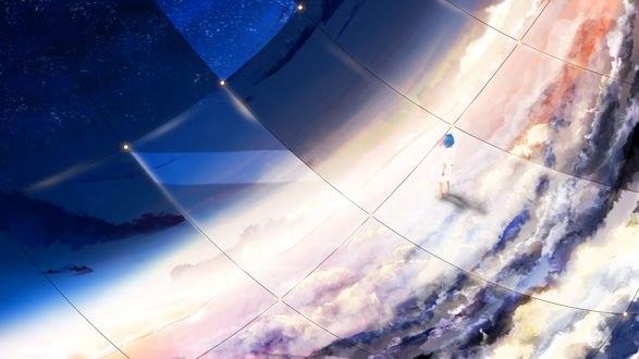 Обои Девушка внутри стеклянной сферы, находящейся в облаках, by Y_Y