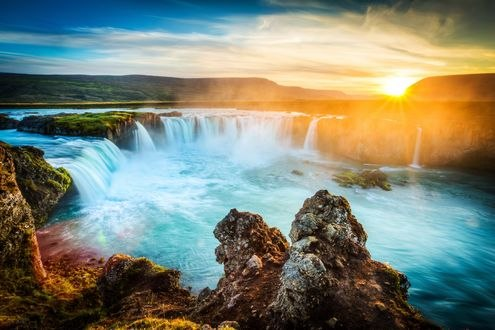 Обои Исландия Goðafoss «водопад Бога»