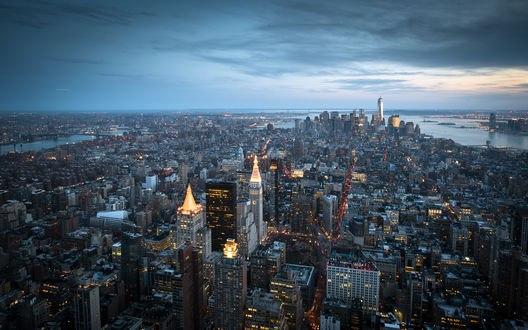 Обои Манхэттен, вид вечернего города