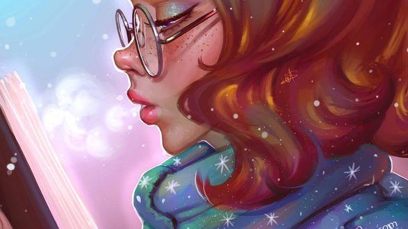 Обои Рыжеволосая девушка с веснушками в очках читает книгу, by AyyaSAP