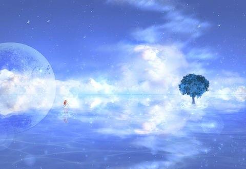 Обои Девушка в белом платье идет по поверхности воды по направлению к дереву, by CZY