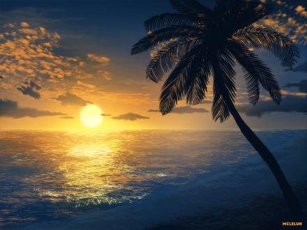 Обои Закат на побережье, by mclelun